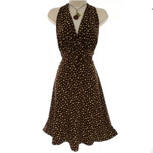 14 Large XL CHOCOLATE POLKA DOT RUCHED WAIST DRESS